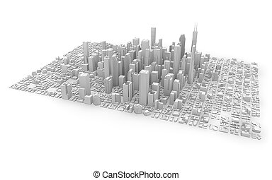 3d isolated white city