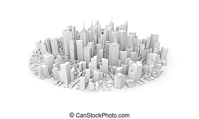 3d rounded city - 3d rendering of white rounded city
