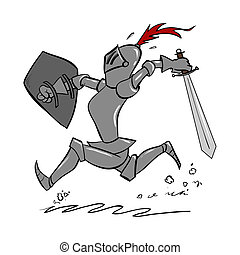 Cartoon Knight - A cartoon knight running with sword in hand...