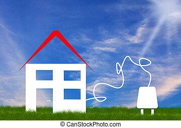 symbolic eco house - ecologic home illustration with natural...