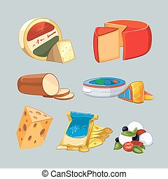 Cheese in packaging Vector set cartoon style - Cheese in...