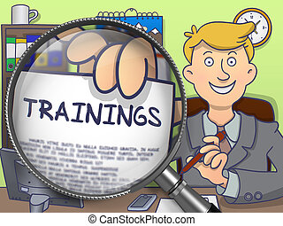 Trainings through Magnifying Glass Doodle Concept -...