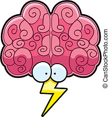 Brain Storm - A cartoon brain with eyes and a lightning...