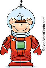 Monkey Astronaut - A happy cartoon monkey astronaut standing...