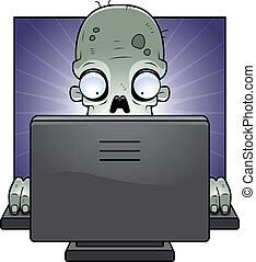 Computer Zombie - A cartoon zombie in front of a computer...