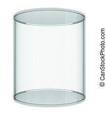 Realistic empty glass showcase on white background 3D...
