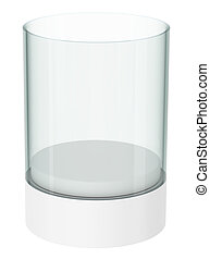 Empty glass showcase on white background 3D illustration