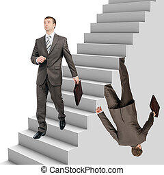 Businessman falling out of stairs with wallking man on white...