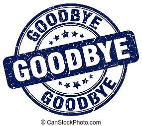 goodbye blue grunge round vintage rubber stamp