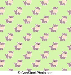 Pattern with a cute hippo