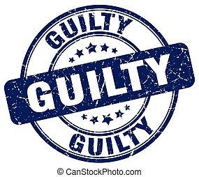 guilty blue grunge round vintage rubber stamp