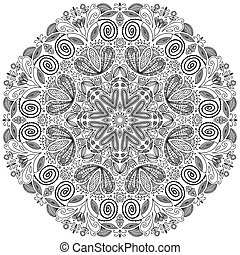 round floral vector ornament - Difficult round floral vector...