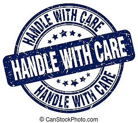 handle with care blue grunge round vintage rubber stamp