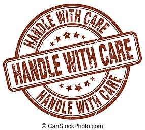 handle with care brown grunge round vintage rubber stamp