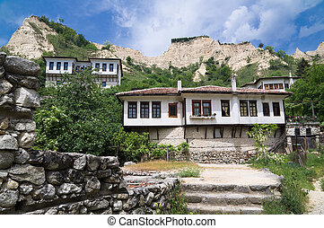 Old houses and famous sand Pyramids in Melnik town, Bulgaria