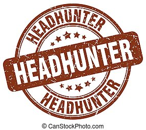headhunter brown grunge round vintage rubber stamp