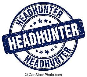 headhunter blue grunge round vintage rubber stamp
