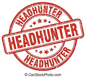 headhunter red grunge round vintage rubber stamp