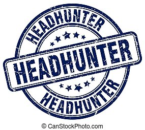 headhunter blue grunge round vintage rubber stamp