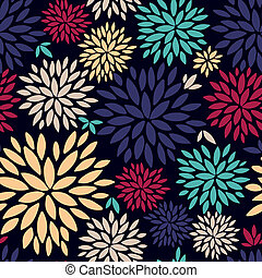 Vector bright color pattern with flowers.