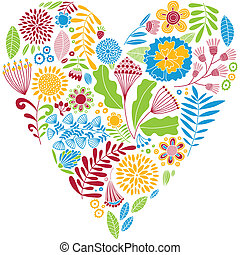 Bright color vector heart. Naive drawing. Card.
