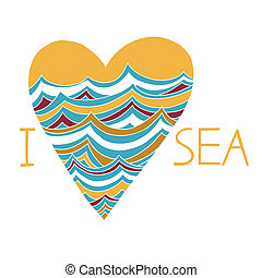 Vector heart with sea waves I love the sea