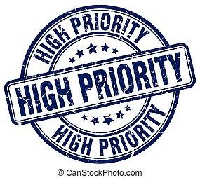 high priority blue grunge round vintage rubber stamp