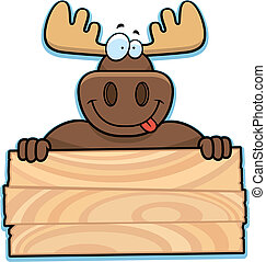 Moose Sign - A happy cartoon moose with a sign