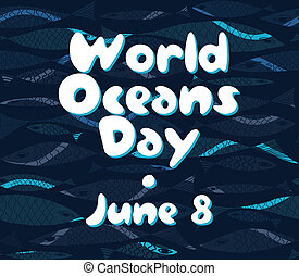 Vector Marine pattern Underwater fish World Oceans Day