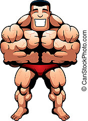 Bodybuilder Flexing - A happy cartoon bodybuilder flexing...