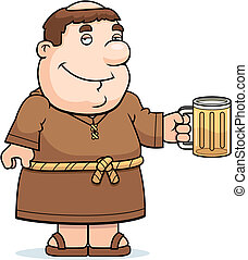 Friar Beer - A happy cartoon friar with a mug of beer