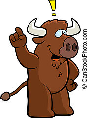 Buffalo Idea - A happy cartoon buffalo with an idea