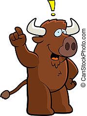 Buffalo Idea - A happy cartoon buffalo with an idea.