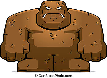 Mud Golem - A cartoon mud golem with an angry expression.