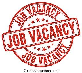 job vacancy red grunge round vintage rubber stamp