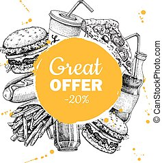 Vector fast food sketch circle frame for special offer.
