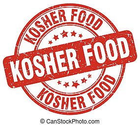 kosher food red grunge round vintage rubber stamp
