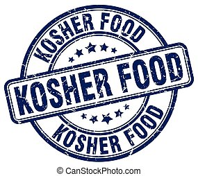 kosher food blue grunge round vintage rubber stamp