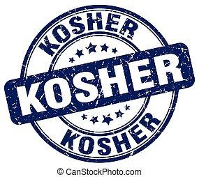 kosher blue grunge round vintage rubber stamp