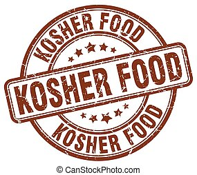 kosher food brown grunge round vintage rubber stamp