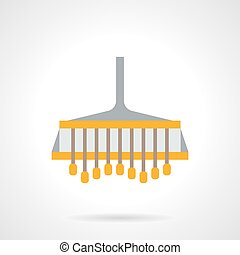 Field plowing flat color vector icon - Yellow farmer plow....