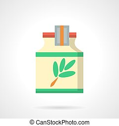 Herbal cough syrup flat color vector icon - Yellow jar with...