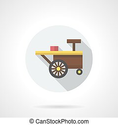 Summer trade cart round flat color vector icon - Brown sale...