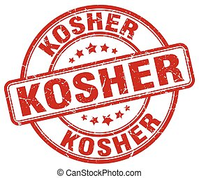 kosher red grunge round vintage rubber stamp