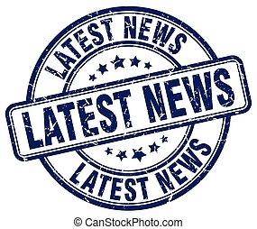 latest news blue grunge round vintage rubber stamp