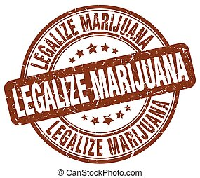 legalize marijuana brown grunge round vintage rubber stamp