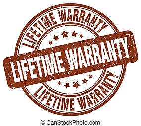 lifetime warranty brown grunge round vintage rubber stamp