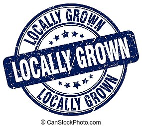 locally grown blue grunge round vintage rubber stamp