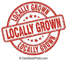 locally grown red grunge round vintage rubber stamp