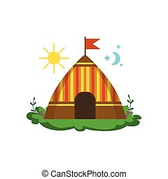 Camping Wigwam In Forest Flat Vector Icon In Cute Girly...